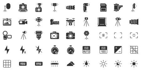 Photo camera silhouette icon. Photography cameras shutter speed, aperture and digital camera exposure black stencil. Video camera lens, film or dslr tripod pictogram. Isolated icons vector set Ilustração