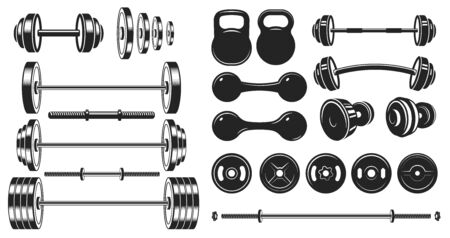 Gym equipment silhouette. Fitness sport, heavy weight barbell and vintage bodybuilding stencil. Wellness equipment, fit exercise or yoga training iron lift sign. Isolated vector illustration icons set