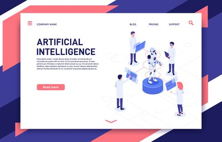 Artificial intelligence development. Cyborg manufacturing, robotics future and bionic robot. Futuristic clever artificial intelligence bot development 3d isometric vector illustration