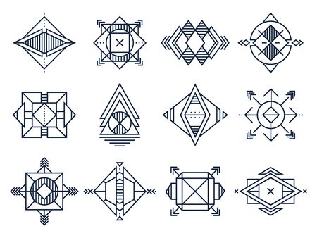 Geometrical shapes. Abstract triangles art, jewelry geometric shape and line cosmic star. Geometry logotype, hipster tattoo sketch or decoration ornament. Isolated vector illustration signs set