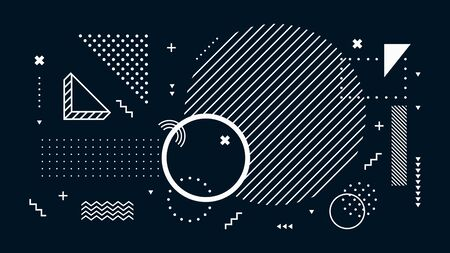 Abstract dark background. Geometric shapes, black and white minimal memphis. Digital modern tech, futuristic geometric abstract backdrop or wallpaper vector illustration  イラスト・ベクター素材