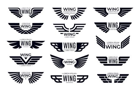 Wings badges. Flying emblem, eagle bird wing and winged frame. Aviation pilot patch badge, army insignia emblem or biker logotype sticker. Isolated vector icons set