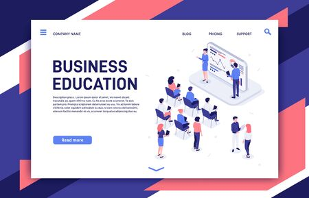 Isometric training. Business team professional education trainings, team building teacher and motivation lecture. Developers coaching meeting, teamwork development presentation vector illustration