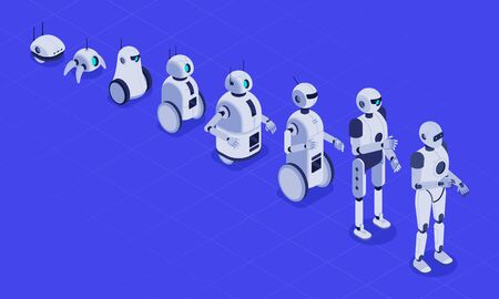 Isometric evolution of robots. Progress in robotics, futuristic robotic machines and robot android development. Engineering android cyborg robots tech evolution 3D vector illustration  イラスト・ベクター素材