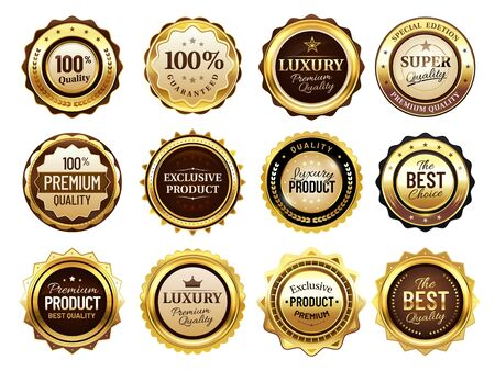Luxury golden badges. Premium quality stamp, gold labels and best offer badge. Award emblem, seal quality certificate tag or elegant royal medal. Isolated vector illustration icons set Banque d'images - 131190982
