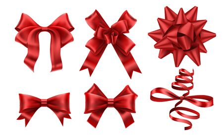 Realistic red bows. Decorative xmas gift ribbon bow, christmas or romance decoration elements. Gift boxes silk ribbons, elegant celebration bows. Isolated vector illustration icons set Banco de Imagens - 131190679