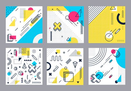 Abstract geometrical background. Modern geometric shapes, funky minimal and memphis style square cards design. 80s retro pop backdrop wallpaper isolated vector illustration set Banco de Imagens - 131190591