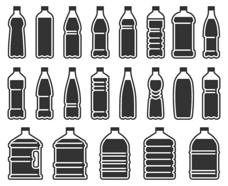 Plastic bottles silhouette icon. Mineral water drink bottle, cooler pure liquids package stencil. Drinking water or alcohol bottles, aqua beverages container. Isolated vector icons set