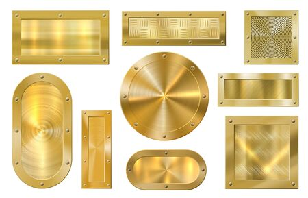 Gold metal banner. Golden plate, metallic textured golds banners and premium frame. Winning award label, quality certificate guarantee sticker. Realistic isolated vector icons set Banco de Imagens - 131190949