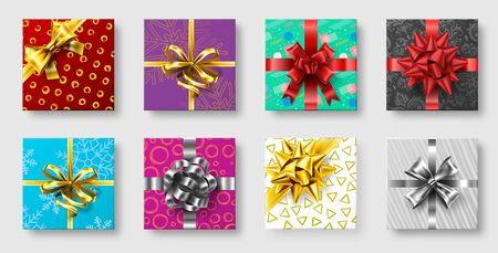 Gift boxes with ribbon bow. Gifts decoration bows, christmas holidays top view presents boxes. Xmas holiday greeting package, party prize box. 3d realistic isolated vector illustration icons set