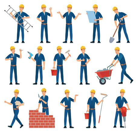 Cartoon worker character. Technician workers, builder and mechanic. Male workers, engineer foreman character or factory working employee and architect. Isolated vector illustration icons set