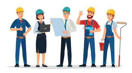 Team di tecnici e ingegneri. Gruppo di persone di tecnici, ingegnere e costruzione. Gli operai degli ingegneri industriali, i caratteri dei costruttori hanno isolato l'illustrazione di vettore del fumetto