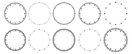 Clock faces. Vintage clocks bezel, seconds timer and 12 hours watch round scale. Clocks frames silhouette, deadline hour stopwatch face. Isolated vector symbols set Çizim