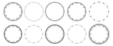 Clock faces. Vintage clocks bezel, seconds timer and 12 hours watch round scale. Clocks frames silhouette, deadline hour stopwatch face. Isolated vector symbols set Ilustração