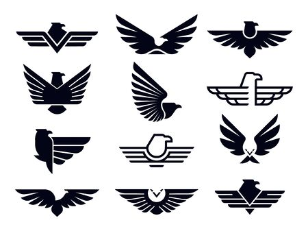 Eagle symbol. Silhouette flying eagles emblem, winged badge and freedom hawk wings stencil.