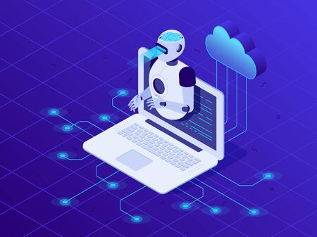 Artificial intelligence on laptop screen. Cloud neural network, AI robot, digital communication chatbots or future question chat conversation intelligence 3D isometric vector illustration