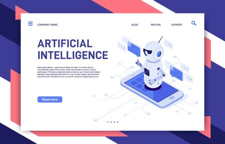 Mobile chatbot. Artificial intelligence chat assistant bot in smartphone app and educational robot. Future telephone conversation bots, human and clever robots dialog isometric vector illustration