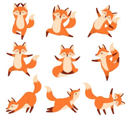 Cartoon fox in yoga poses. Healthy gymnastics, breathing exercises and sport animal mascot. Foxes fitness sport, animals gymnast character. Isolated vector illustration icons set