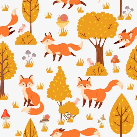 Seamless forest foxes pattern. Cute red fox among yellow trees, wild animal nature. Foxy woodland wallpaper, kawaii fur foxes fabric or wrapping cartoon background vector illustration Banco de Imagens - 131382513