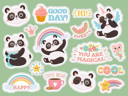 Cute panda stickers. Happy pandas patches, cool animals and winked panda sticker.