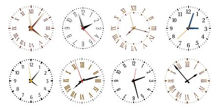Modern clock faces. Minimalist watch, round clocks and watch face. Ticking clock timer measurement symbols, work time deadline metaphor. Isolated vector icons set Banco de Imagens - 131387034
