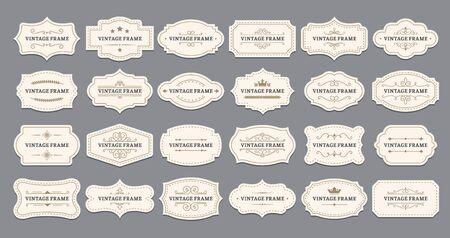 Ornamental label frames. Old ornate labels, decorative vintage frame and retro badge. Royal wedding insignia, sale sticker or invitation card. Isolated vector symbols set