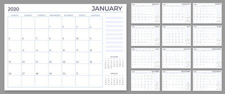 Modello di pianificatore mensile. Griglia delle note del calendario dell'anno, fogli di pianificazione 2020 e calendari di pianificazione annuale. Pianificatore giornaliero o settimanale, elenchi di promemoria delle date, set di vettori del pianificatore mensile Vettoriali