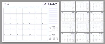 Monthly planner template. Year calendar notes grid, 2020 planners sheets and yearly scheduling calendars. Daily or week planner, date reminder lists, month planner vector set