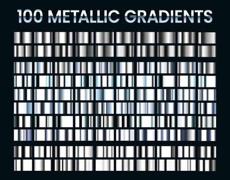 Metallic gradients. Shiny silver gradient, platinum and steel metal material colors. Reflective gray foil, luxury white gold or chrome iron icons. Isolated vector illustration signs set