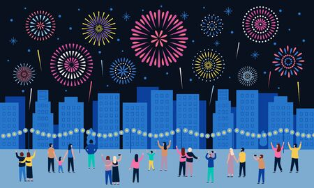 Crowd watching fireworks. Dark night city with firework pyrotechnic show, people look in sky and celebrate holidays. Town firework festival, sky explode vector illustration Banco de Imagens - 131386237