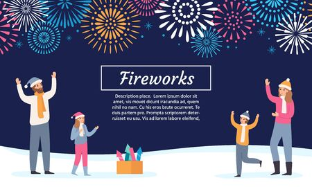 Family watching firework explosions. Couple with kids launching fireworks, celebrating holidays and new year flyer. 2020 christmas greeting card, xmas winter firework vector illustration