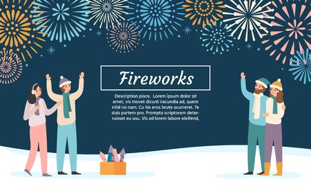 Friends launching fireworks. Group of people celebrating holidays and watching firework explosions. New 2020 year festive, xmas fireworks festival invitation vector illustration