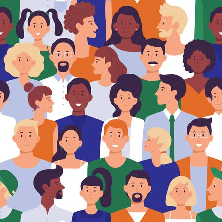 Seamless different people portraits pattern. Men and ladies crowd, social demonstration and creative avatars. International characters, social protest or society demonstration vector illustration Banco de Imagens - 131382749