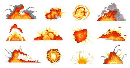 Cartoon explosions. Exploding bomb, fire cloud and explosion burst. Mobile game damage sign, comic bomb explode blast or dynamite storyboard. Isolated vector illustration icons set