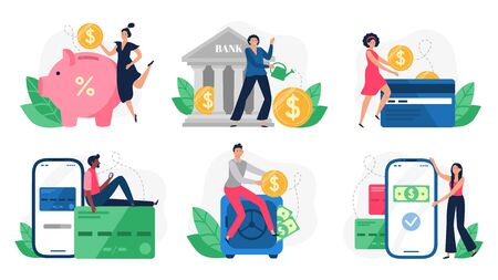 Digital banking. Bank transactions, credit card payment and internet payments. Online pay, payment machine or credit buying transaction. Flat isolated vector illustration icons set