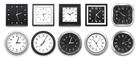 Realistic clock. Modern white round wall clocks, black watch face and time watch mockup. Deadline timer clock, classic watches. Isolated 3d vector illustration signs set