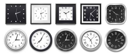 Realistische Uhr. Moderne weiße runde Wanduhren, schwarzes Zifferblatt und Zeituhrmodell. Frist-Timer-Uhr, klassische Uhren. Isolierte 3D-Vektor-Illustrationszeichen gesetzt Vektorgrafik