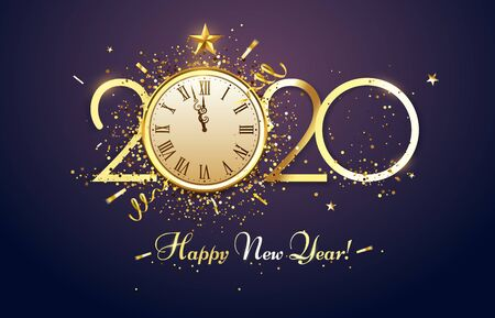 Happy 2020 New Year. Party countdown clock with golden sparks confetti, gold year number and watch face. Christmas luxury poster, Xmas glitter invitation or greeting card vector illustration