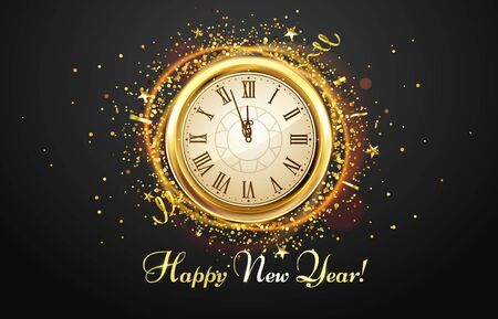 New Year countdown watch. Holiday antique clock with golden confetti, Happy New Year greeting card. 2020 gold christmas poster, xmas night celebrate time countdown vector illustration Banco de Imagens - 131384312