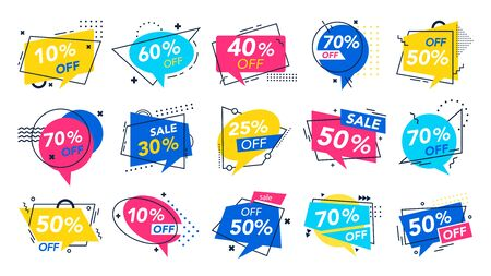 Modern special offer badge. Discount badges, store saving brochure and percentage off deal voucher label. Shopping coupon sticker, retail tags or advertising banner. Isolated vector symbols set