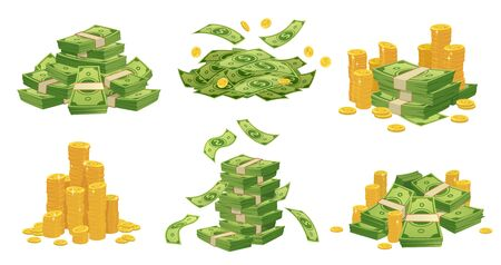 Cartoon money and coins. Green dollar banknotes pile, golden coin and rich. Bank debt bill investment, earnings treasure or jackpot money capital. Isolated vector illustration icons set Ilustração