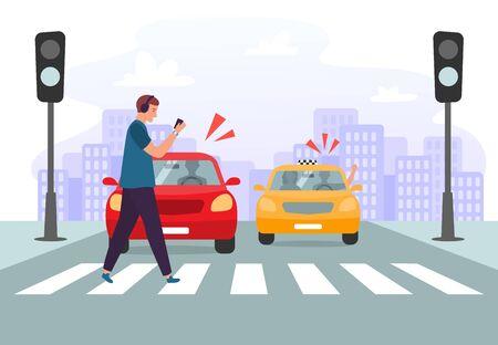 Incidente sulle strisce pedonali. Pedone con smartphone e cuffie che attraversano strada su semafori rossi, sicurezza stradale. Pericolo di incidente automobilistico, illustrazione vettoriale delle regole del traffico stradale Vettoriali