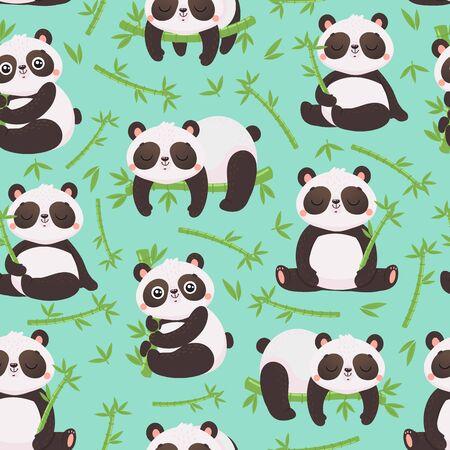 Panda and bamboo seamless pattern. Cute pandas animals, wild bamboo forest bear and sleeping baby panda. Child room interior wallpaper, gift wrapping or pandas fabric vector illustration