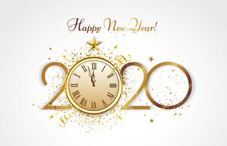 Happy New Year greeting card. Golden 2020 countdown, christmas party clock and luxury gold confetti congratulation. Greeting christmas flyer, merry xmas invitation banner vector illustration