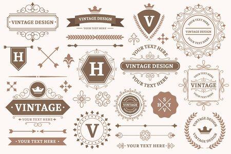 Vintage sign borders. Elegant frame, luxurious old design and antique typography border. Ilustração