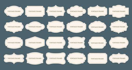 Vintage label frames. Old frame shapes, decorative label and retro shape. Ilustração