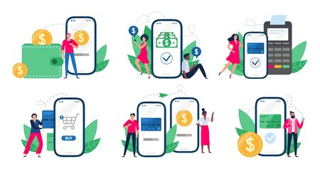 Mobile payments. People with smartphones send money transfers, POS-terminal payment and financial transactions. Bank app internet transaction technology. Isolated vector illustration icons set Ilustração