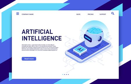 Isometric mobile artificial intelligence. AI smartphone, digital brain technology and neural network chip. Future mobile phone augmented reality app solutions wireless vector illustration