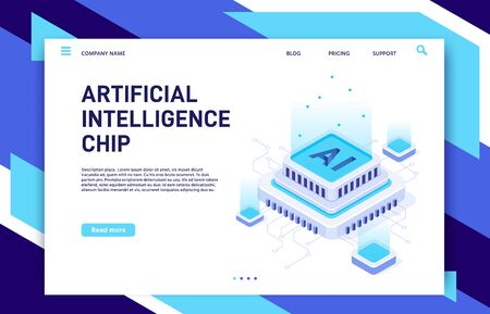 Artificial Intelligence chip. Machine learning technology, computer electronics and AI systems landing page template. Microchip evolution, futuristic IT isometric vector illustration Illusztráció