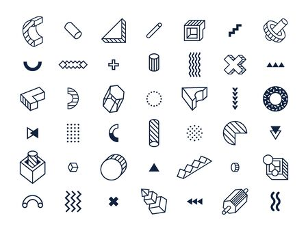 Memphis style geometric shapes. Abstract geometry shape, 80s poster graphic and lined or dots textured shapes. Geometrical 90s pop Memphis signs hipster ornaments. Isolated symbols vector set
